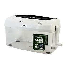 得力 (deli) 9935 手摇手动碎纸机 时尚桌面光盘卡片粉碎机 白色