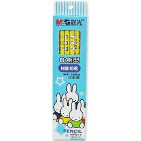 晨光(M&G)MF3200 卡通六角热转印铅笔 HB 12支装 蓝色