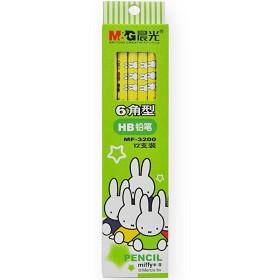 晨光(M&G)MF3200 卡通六角热转印铅笔 HB 12支装 绿色