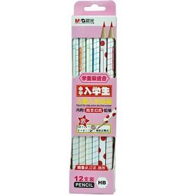晨光(M&G)AWP30807 入学六角HB木杆/木头铅笔 12支装 粉色