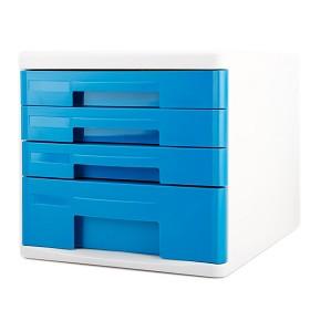 得力(deli)9761 时尚彩色办公四层文件柜/资料收纳柜 蓝色
