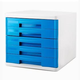 得力(deli)9762 时尚彩色办公五层文件柜/资料收纳柜 蓝色
