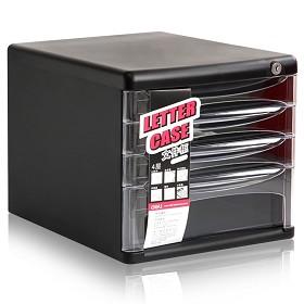 得力(deli)9794 四层塑料文件柜(透明抽屉带锁) 黑色