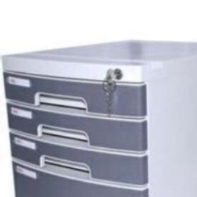 得力(deli)8854 四层塑料文件柜(带锁) 灰色