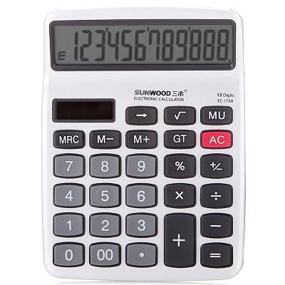 三木(SUNWOOD)EC-1758 金属面板计算器(双电源)