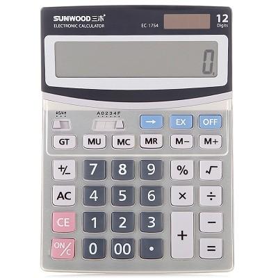 三木(SUNWOOD)EC-1754 金属面板12位桌面型计算器