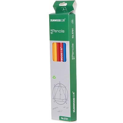 三木(SUNWOOD)5701 HB 彩色漆三角杆铅笔 12支/盒