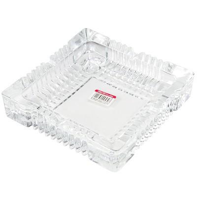 得力(deli)9580 办公居家大号玻璃方形烟灰缸 茶几摆件 180*180mm