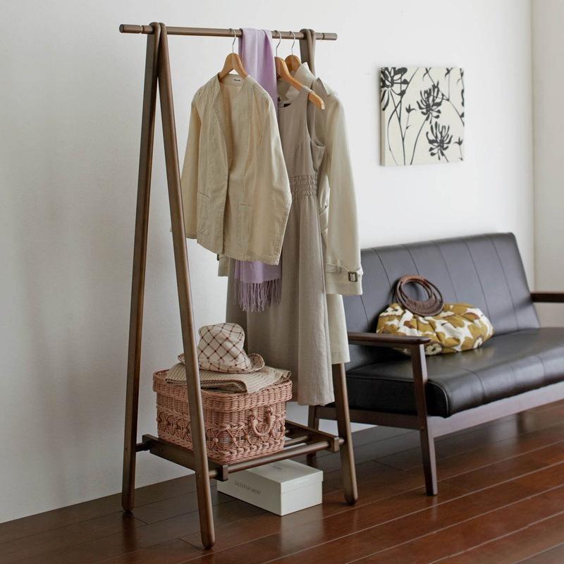 松木折叠挂衣架 实木衣帽架 卧室落地挂衣架 创意欧式木质衣服架子