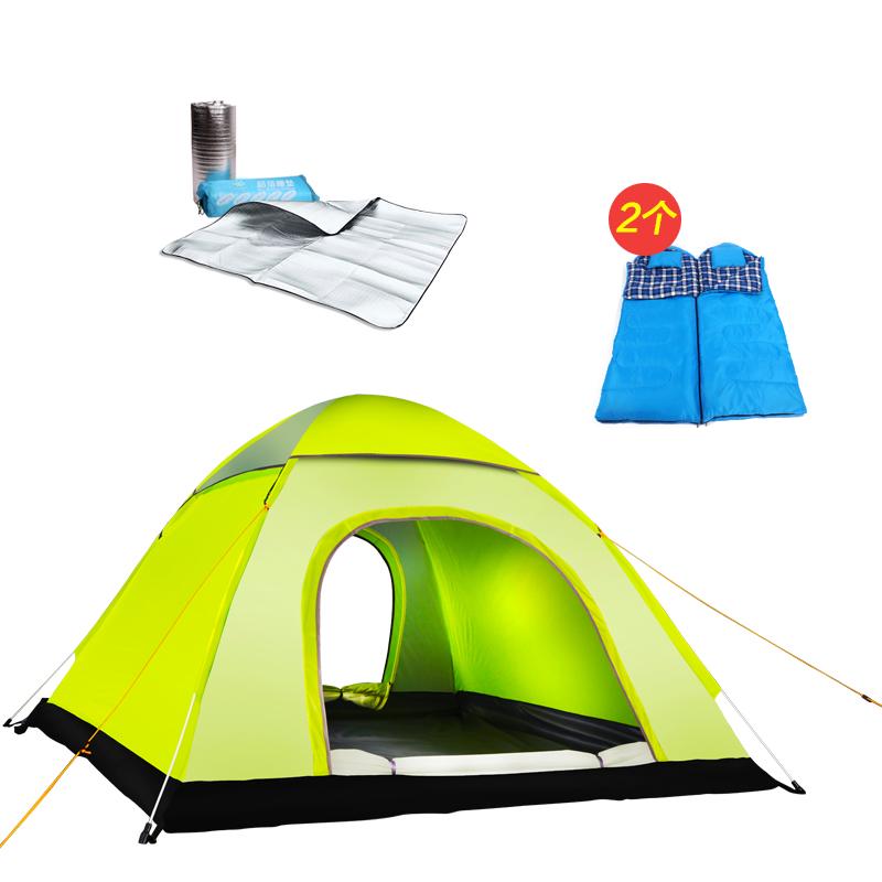 探险者户外帐篷3-4人全自动速开2人双人野外露营帐篷套装防雨 颜色六