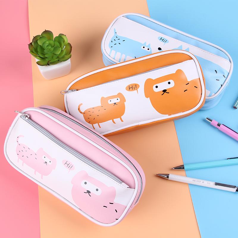 智高 萌宠卡通小学生笔袋 可爱简约女孩小清新文具盒韩版铅笔盒