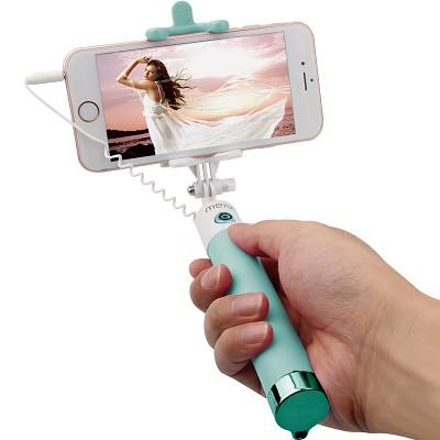 美逸(MEIYI)MY-S8镜面线控自拍杆 自拍神器 适用于苹果 三星 华为等 兼容iOS及安卓系统 草绿色