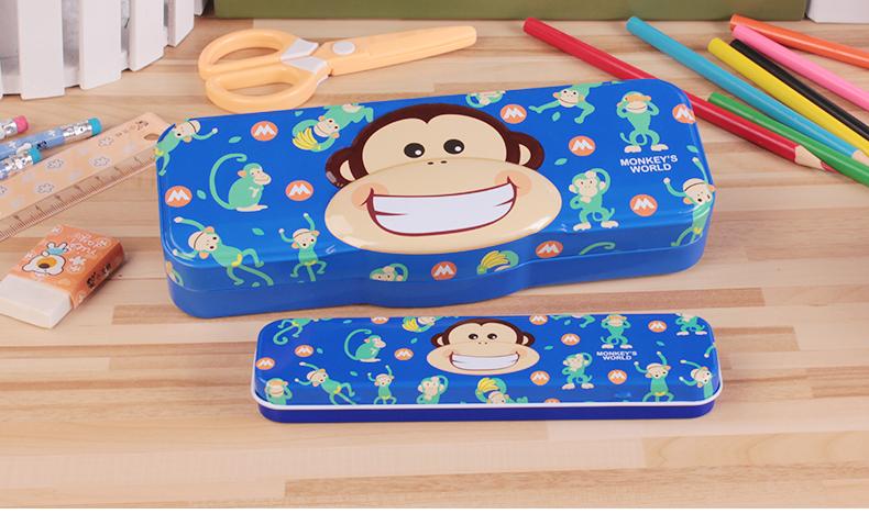 小灵精大嘴猴子母盒简约铁笔盒卡通创意小学生儿童盒