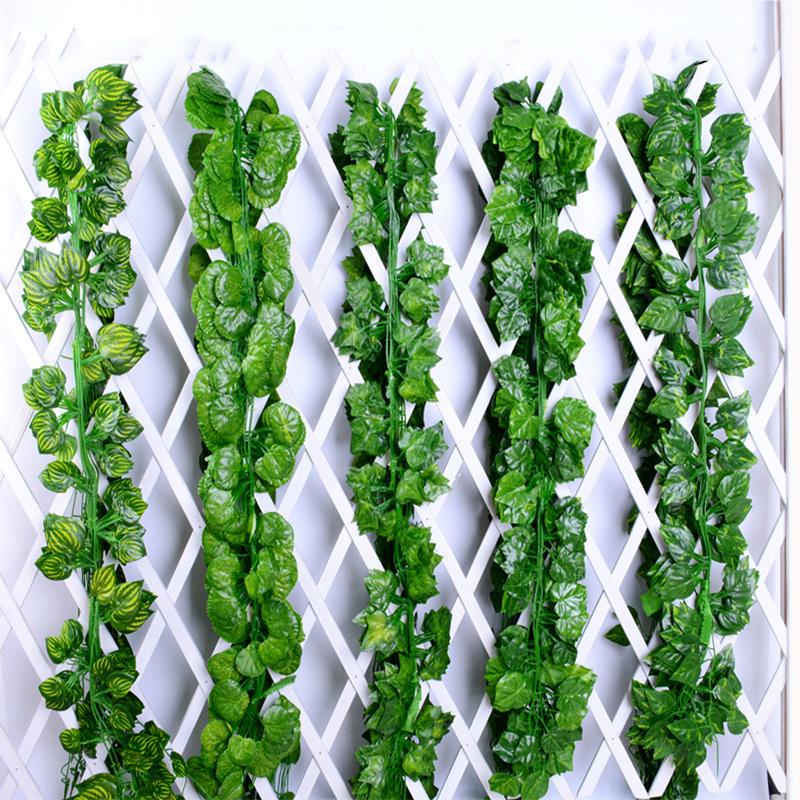 国产 仿真藤条假树叶水管装饰绿藤塑料藤蔓植物花藤壁挂绿叶 3m*12根